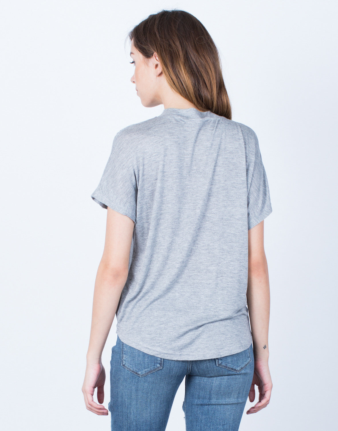 Back View of Mock Neck Tee