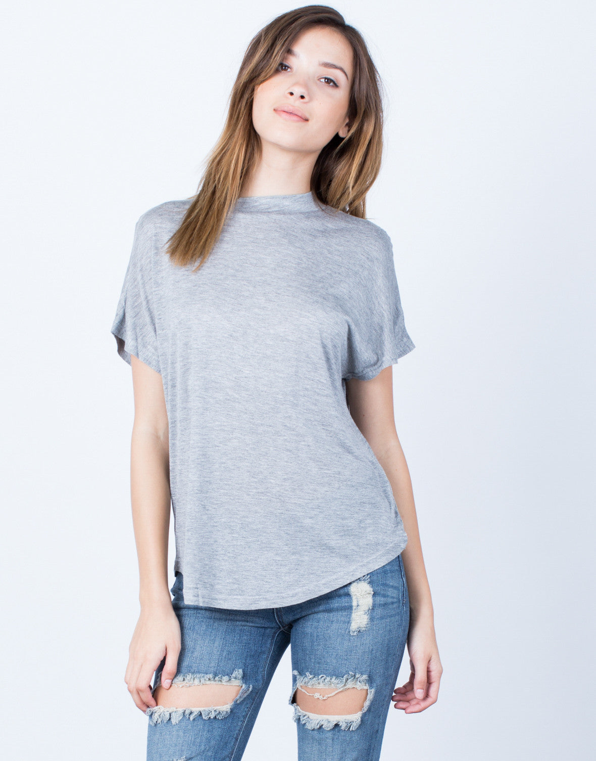 Front View of Mock Neck Tee