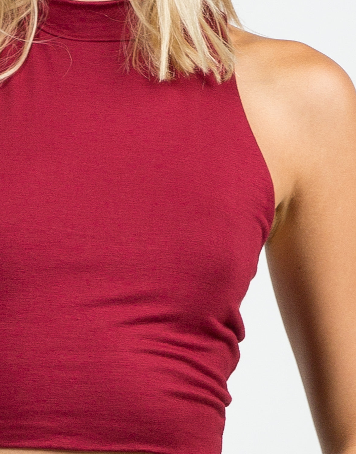 Detail of Mock Neck Crop Top