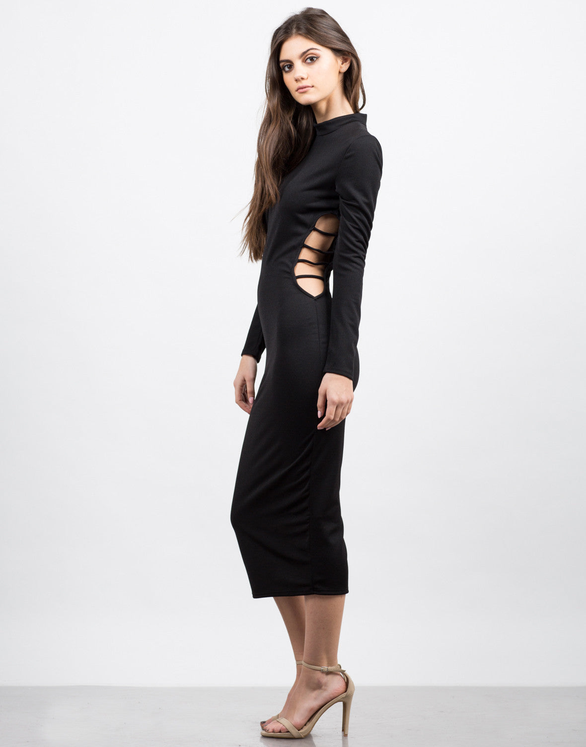 Side View of Mock Neck Cut Out Dress