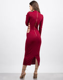 Back View of Side View of Mock Neck Cut Out Dress