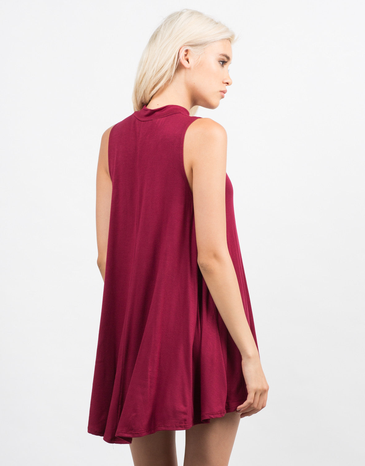 Back View of Mock Neck Flare Dress