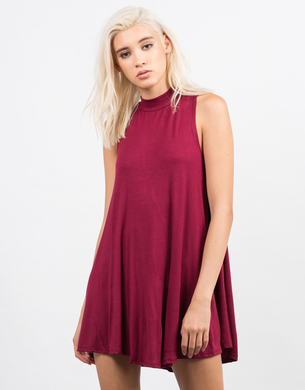 Front View of Mock Neck Flare Dress