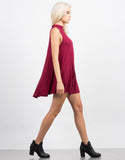 Side View of Mock Neck Flare Dress