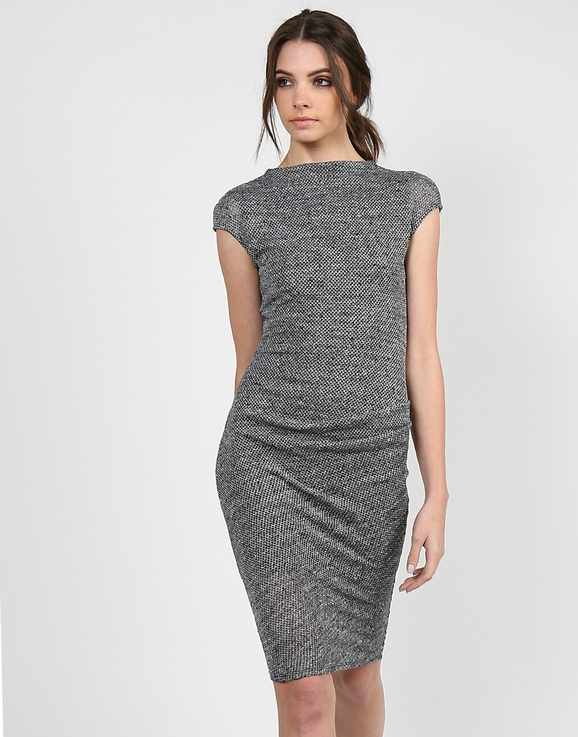 Mock Neck Midi Dress