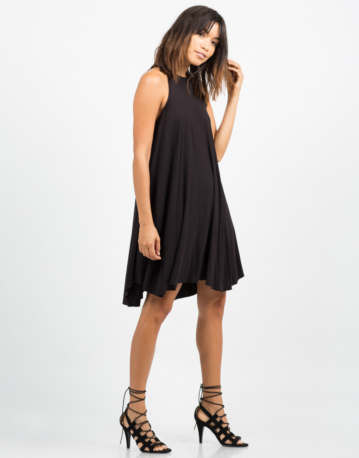 Side View of Mock Neck Rayon Dress