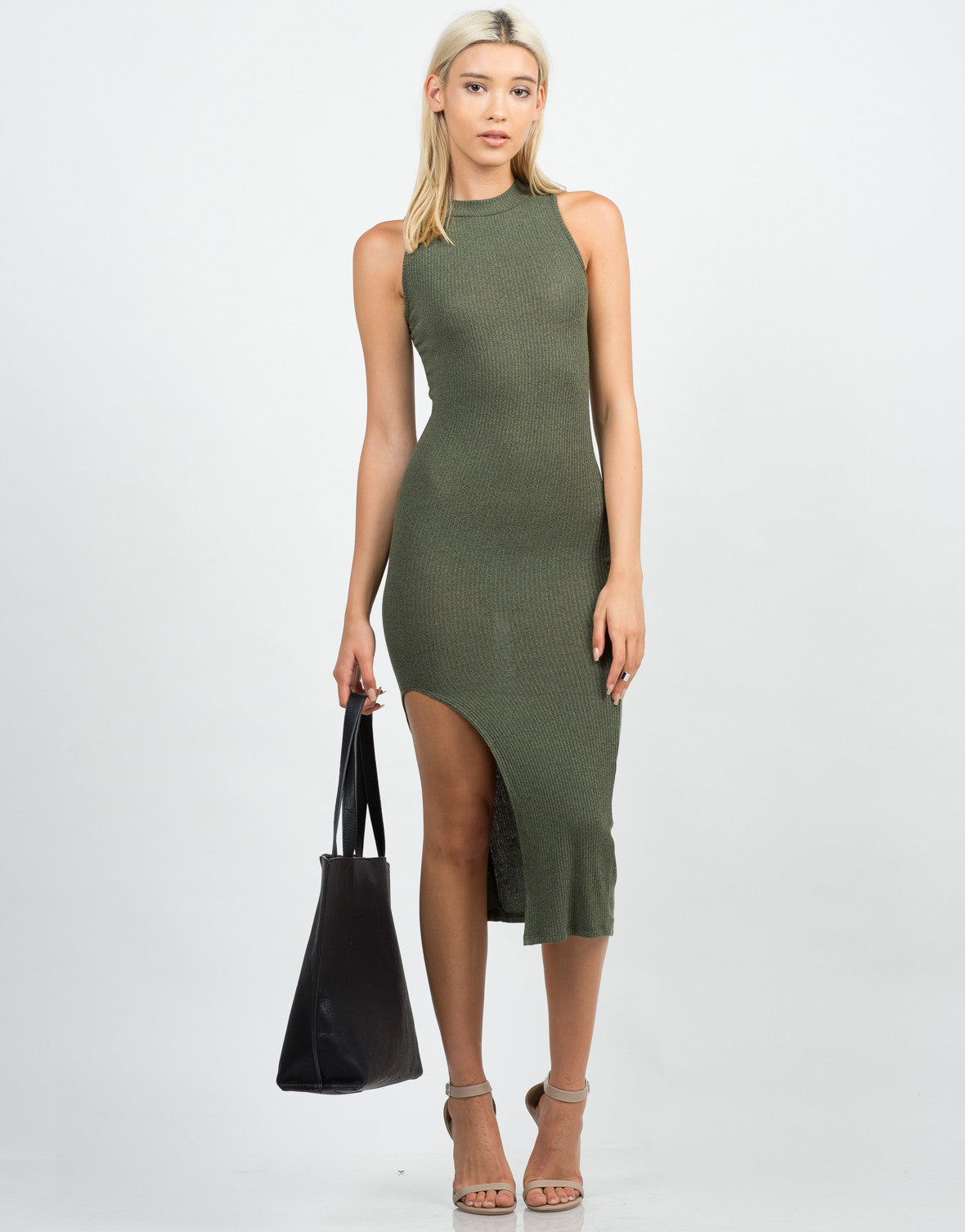Front View of Mock Neck Ribbed Midi Dress