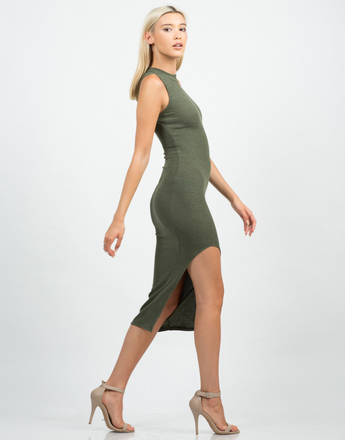 Side View of Mock Neck Ribbed Midi Dress