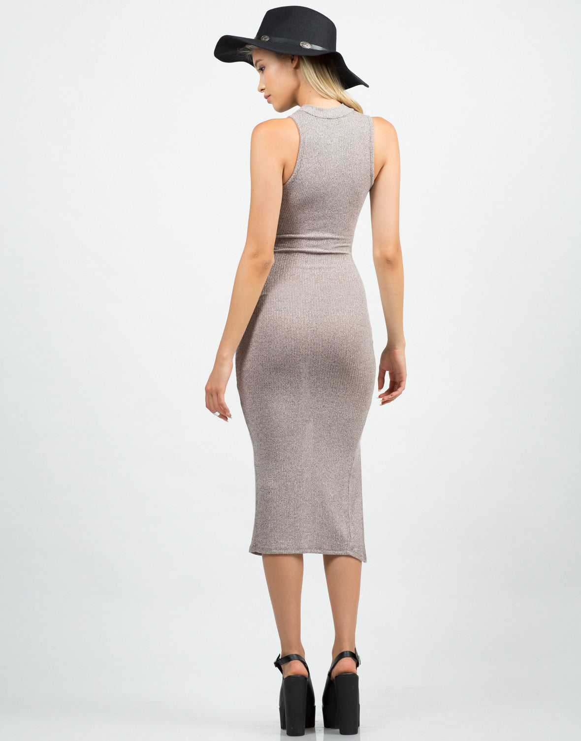 Back View of Mock Neck Ribbed Midi Dress