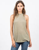 Front View of Mock Ribbed Tunic Tank
