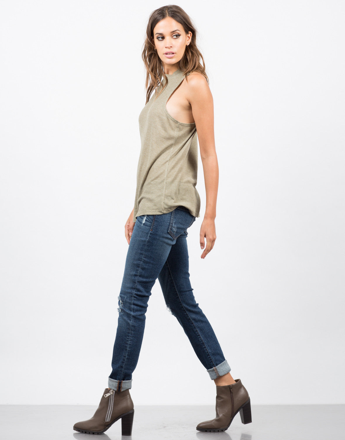 Side View of Mock Ribbed Tunic Tank