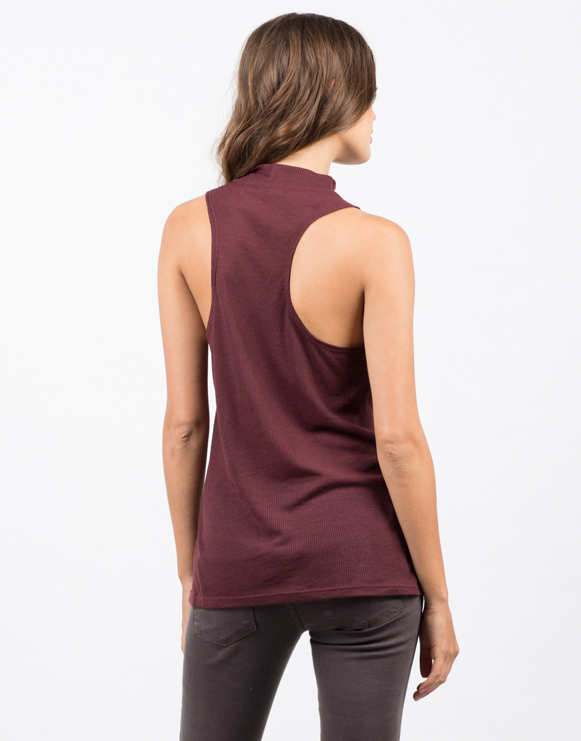Back View of Mock Ribbed Tunic Tank