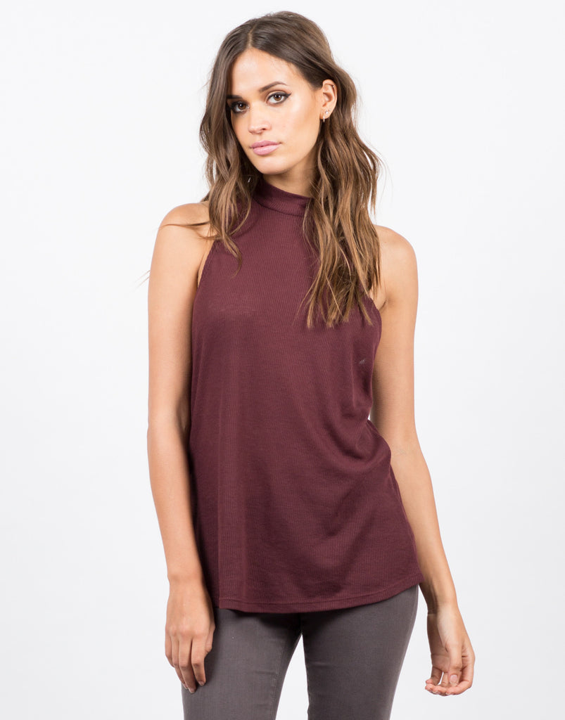 Mock Ribbed Tunic Tank - 2020AVE