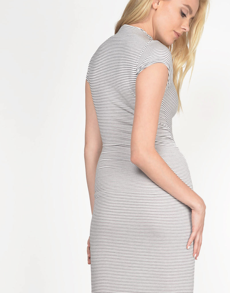 Mock Neck Striped Midi Dress - 2020AVE