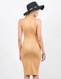Back View of Mock Neck Suede Dress