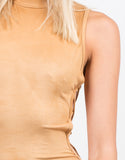 Detail of Mock Neck Suede Dress