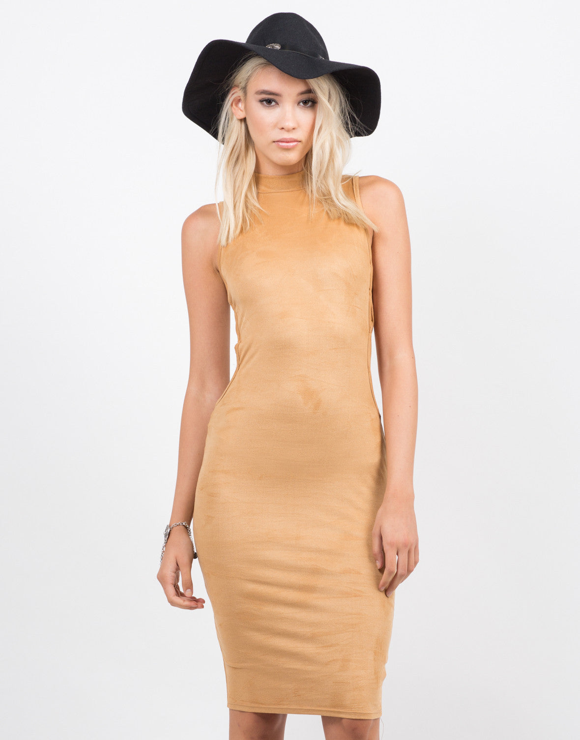 Front View of Mock Neck Suede Dress
