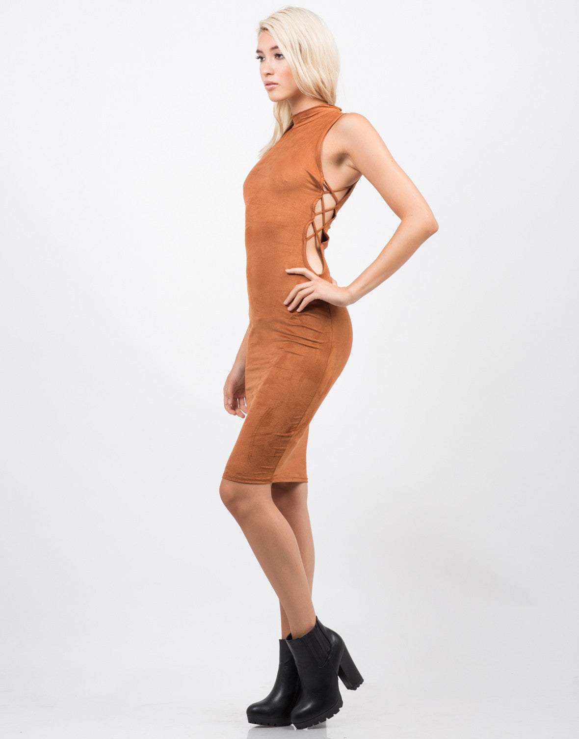 Side View of Mock Neck Suede Dress