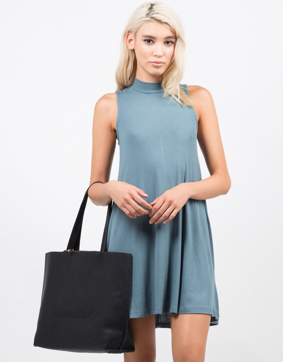 Front View of Mock Neck Tank Dress