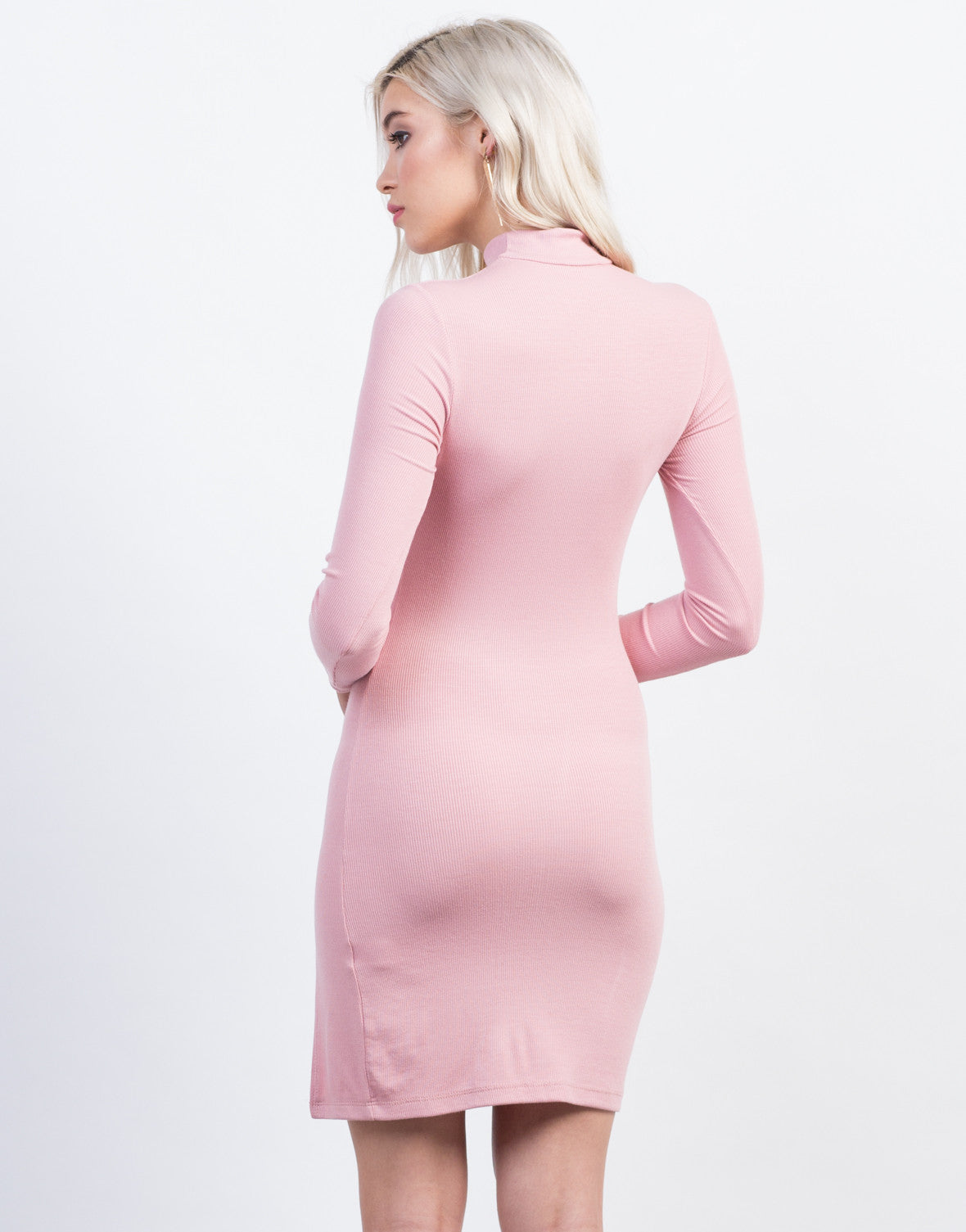 Back View of Mock Slit Ribbed Dress