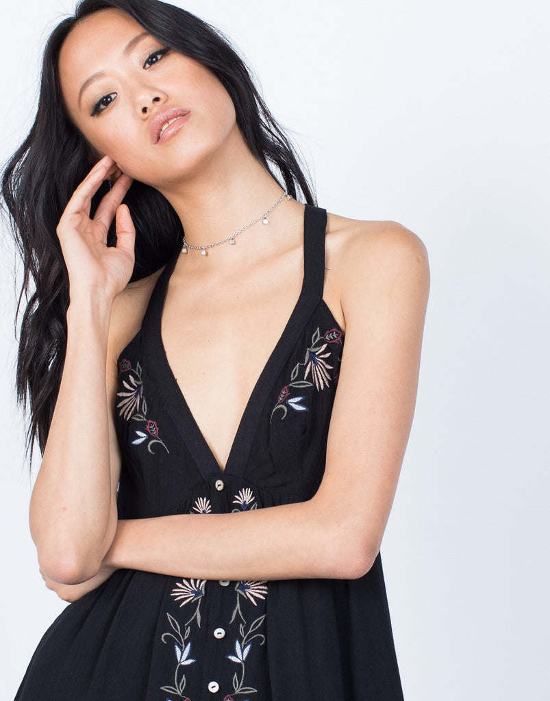 Black Molly Floral Romper - Detail View