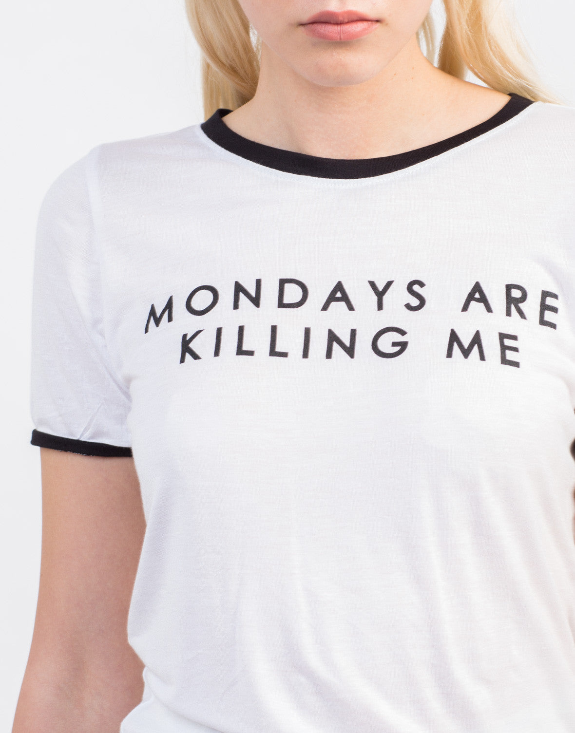 Detail of Monday's Are Killing Me Tee