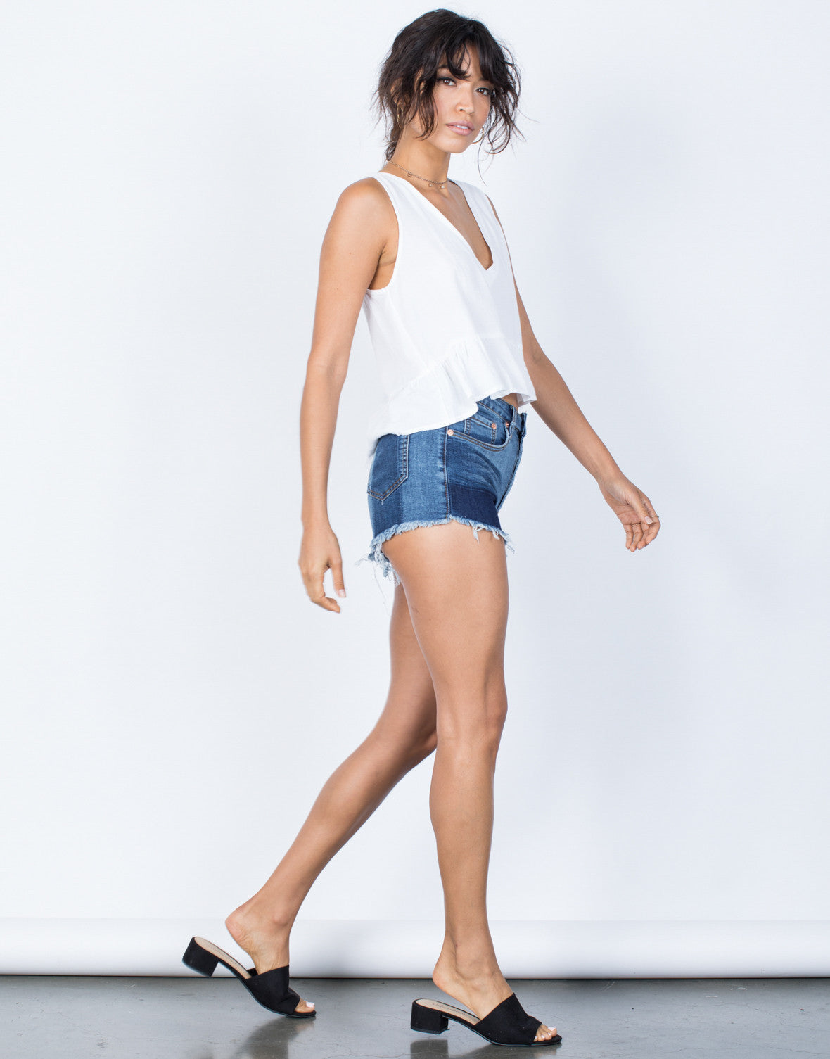 Blue Denim Monochromatic Denim Shorts - Side View