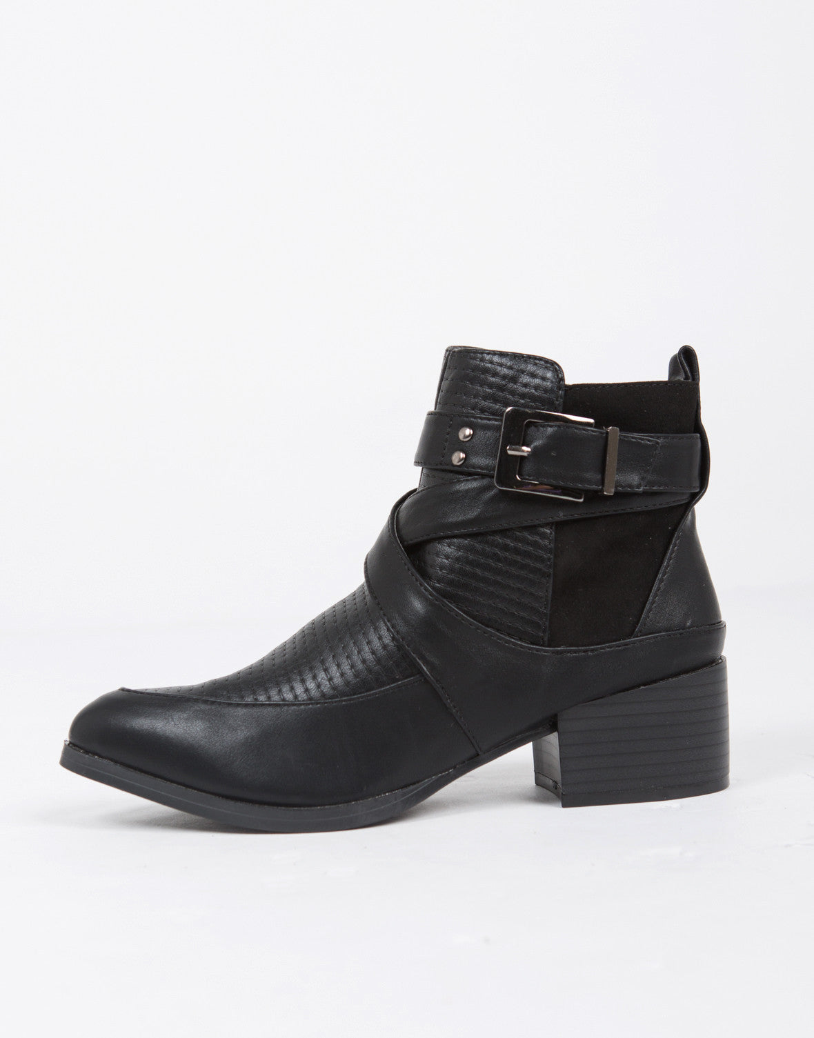 Moto Buckled Ankle Boots