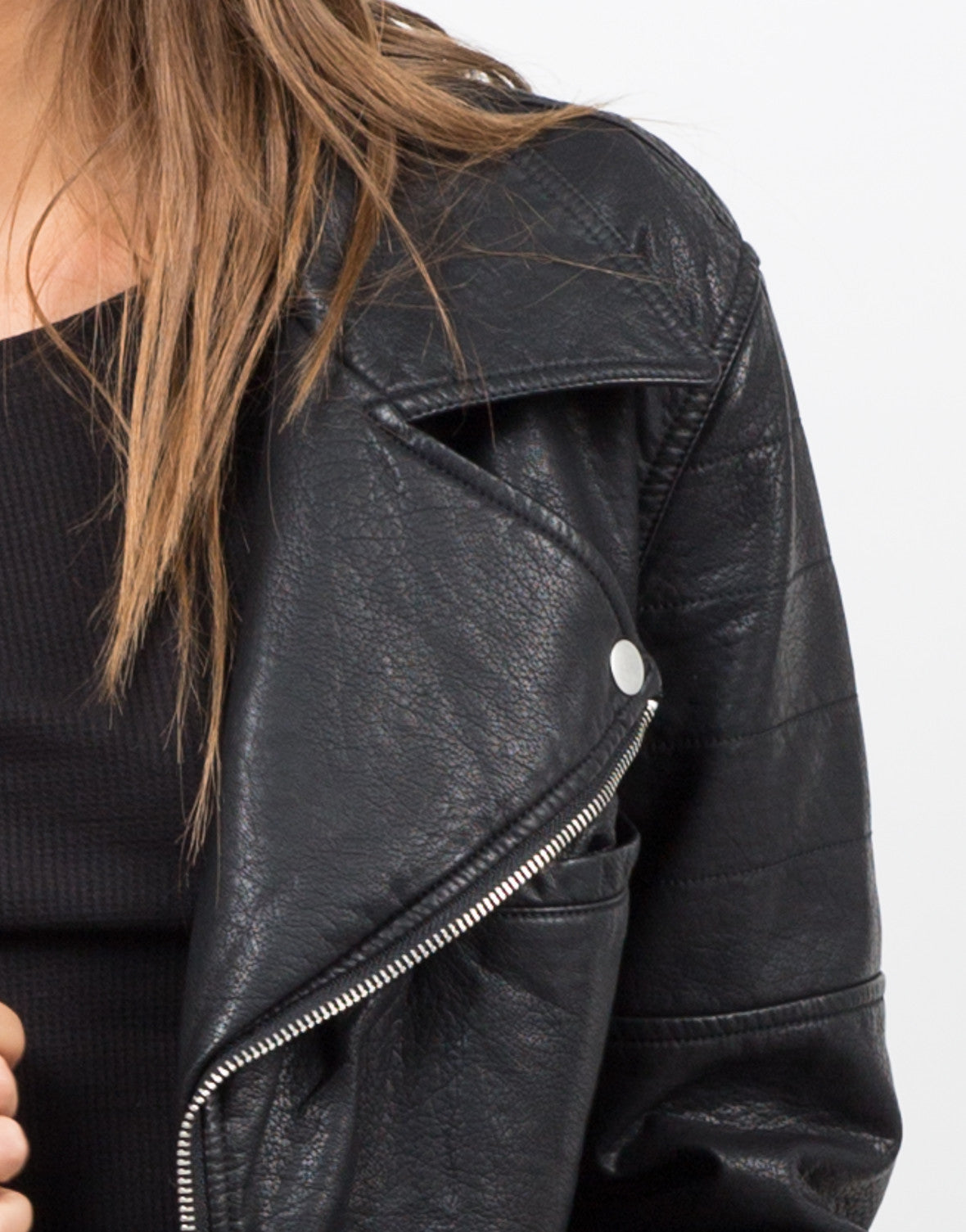 Detail of Moto Leatherette Jacket