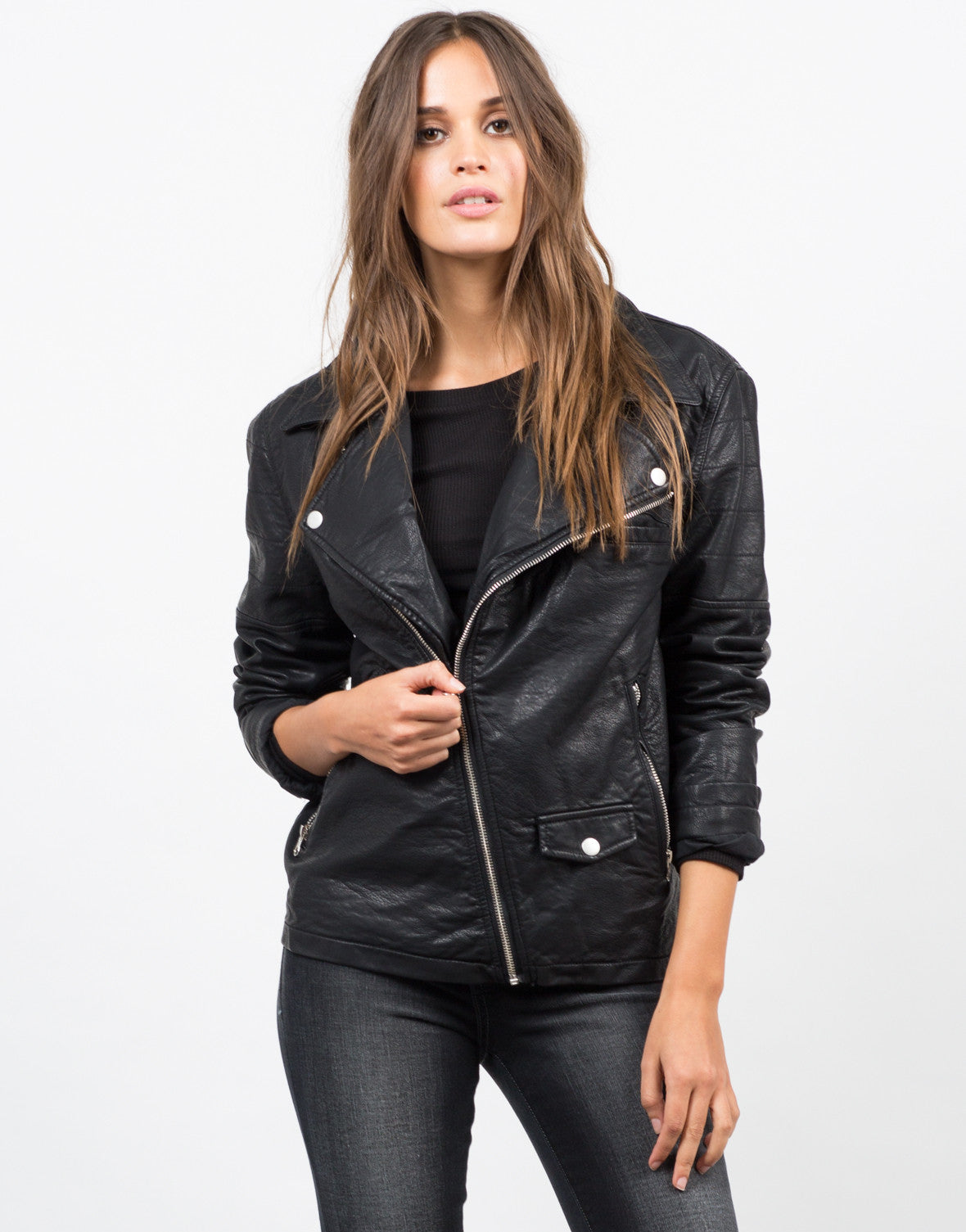 Front View of Moto Leatherette Jacket