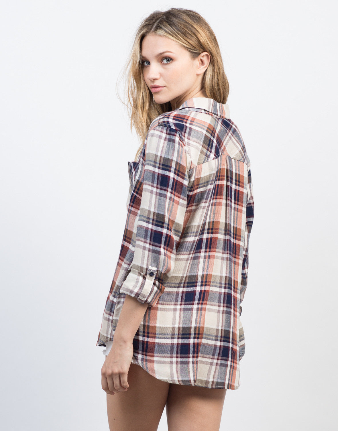 Back View of Multi Colored Plaid Shirt