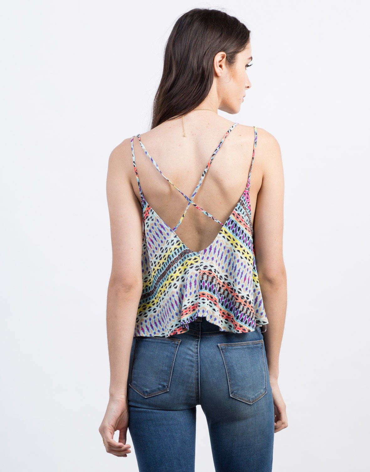Back View of Multi Colored Printed Top