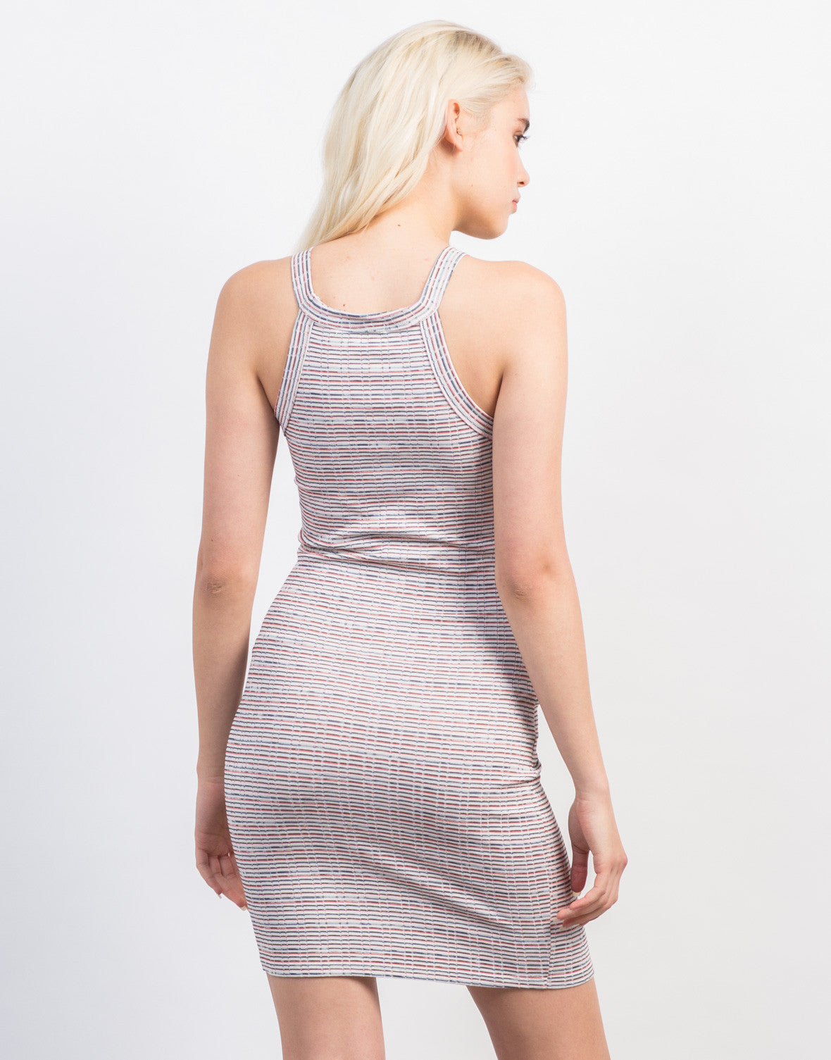 Back View of Multi Striped Day Dress