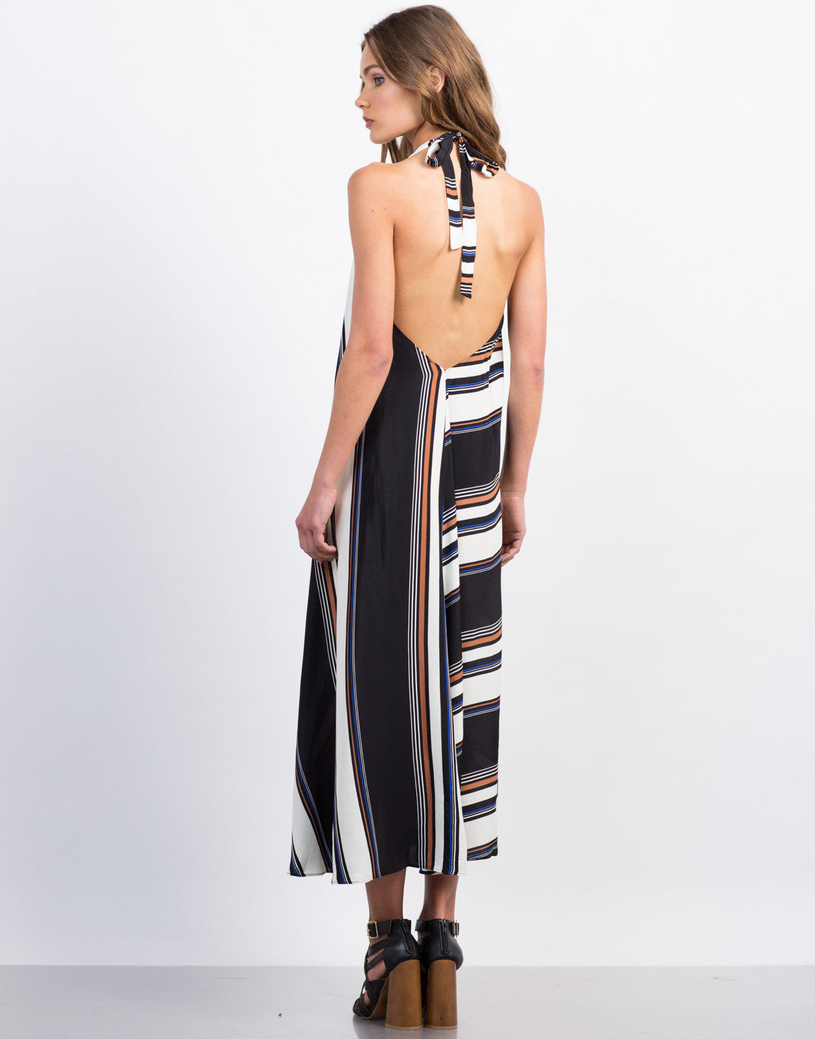 Back View of Multi-Striped Maxi Dress