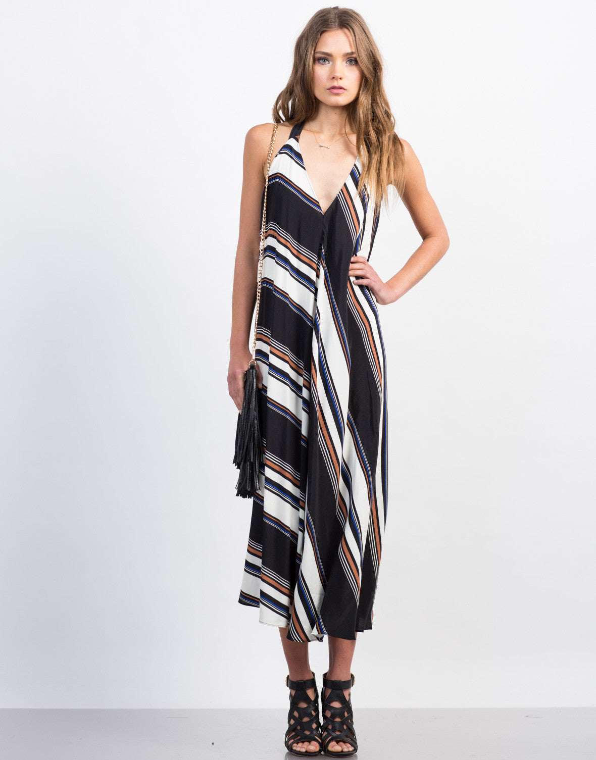 Front View of Multi-Striped Maxi Dress