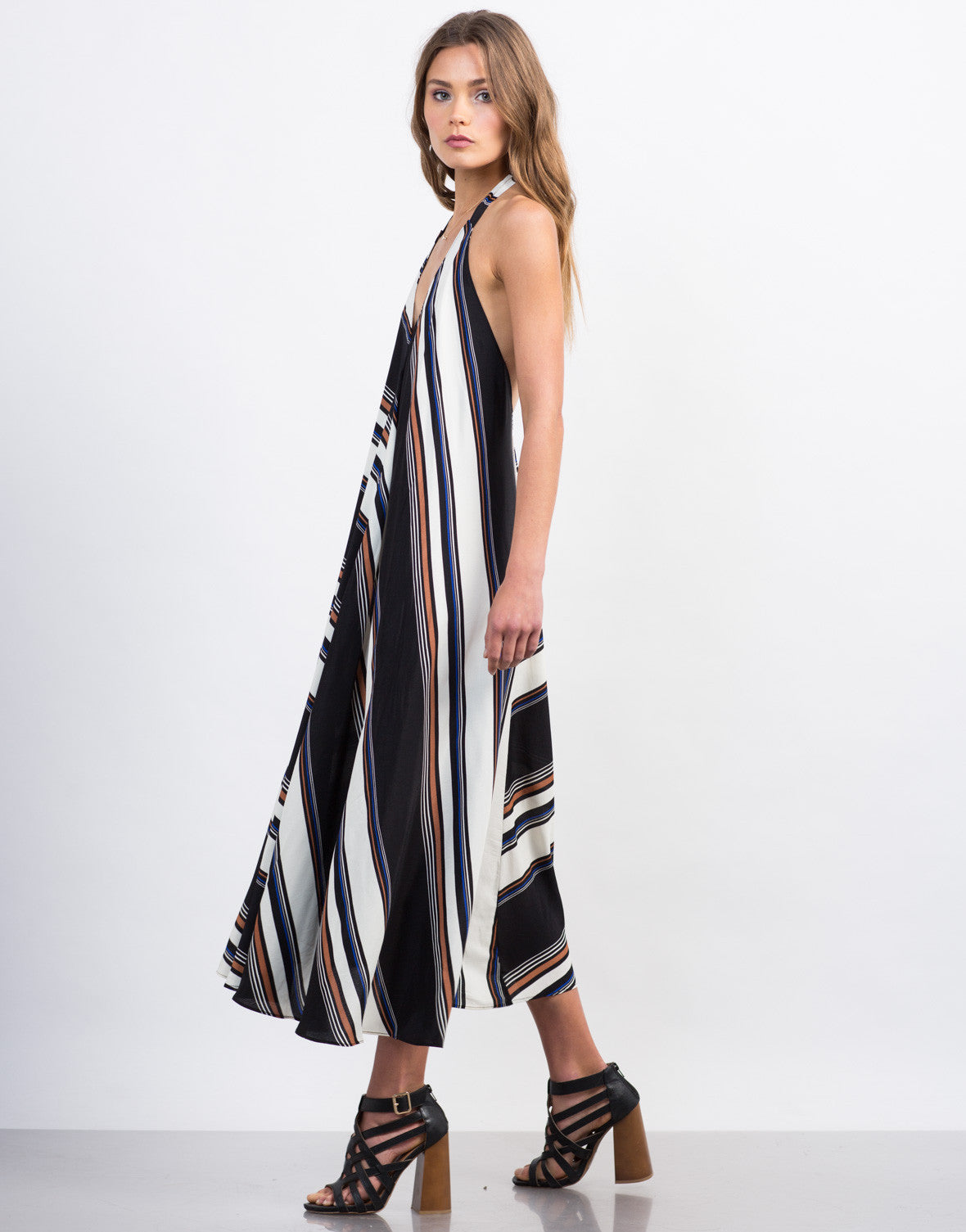 Side View of Multi-Striped Maxi Dress