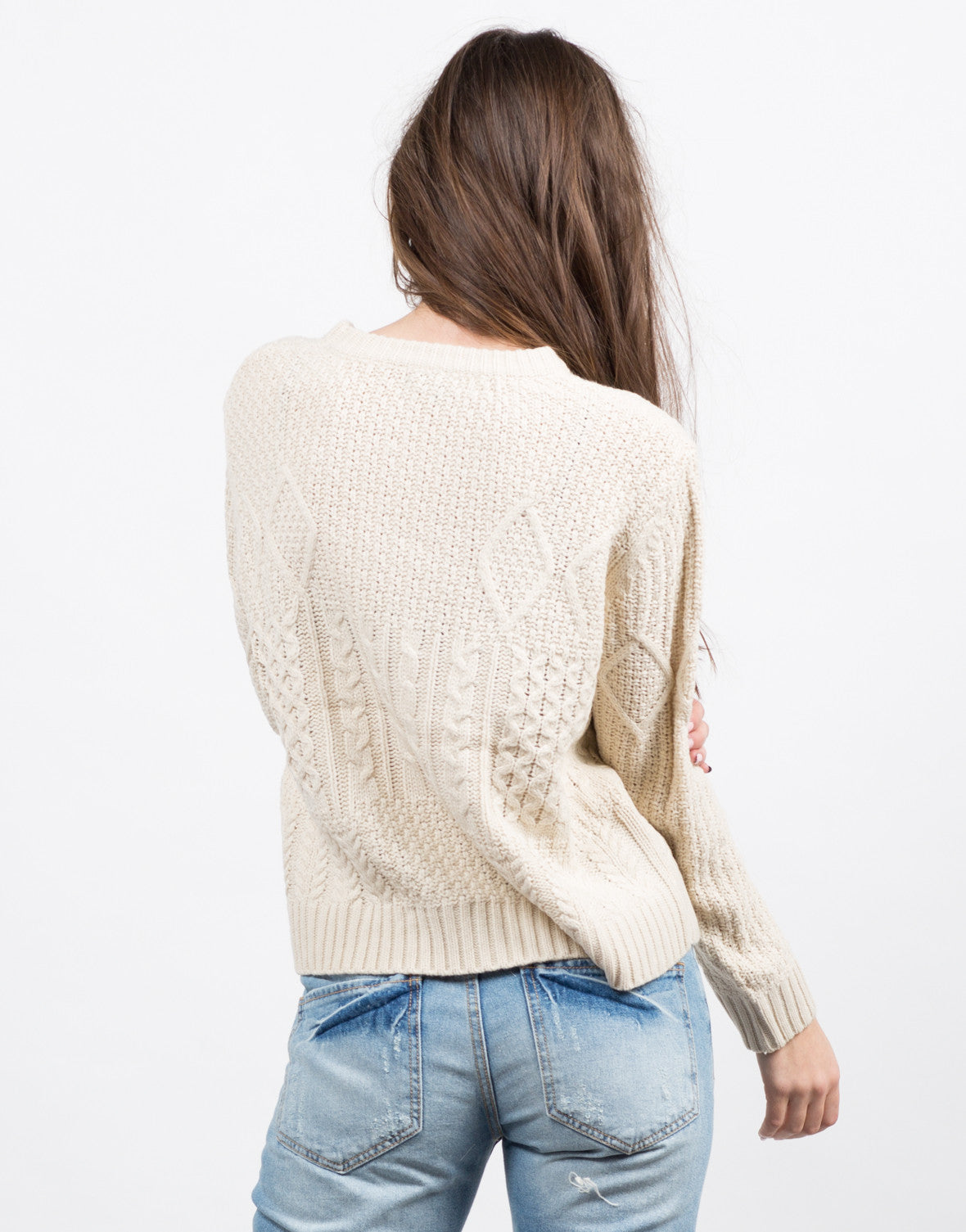 Back View of Multi Knit Boxy Sweater