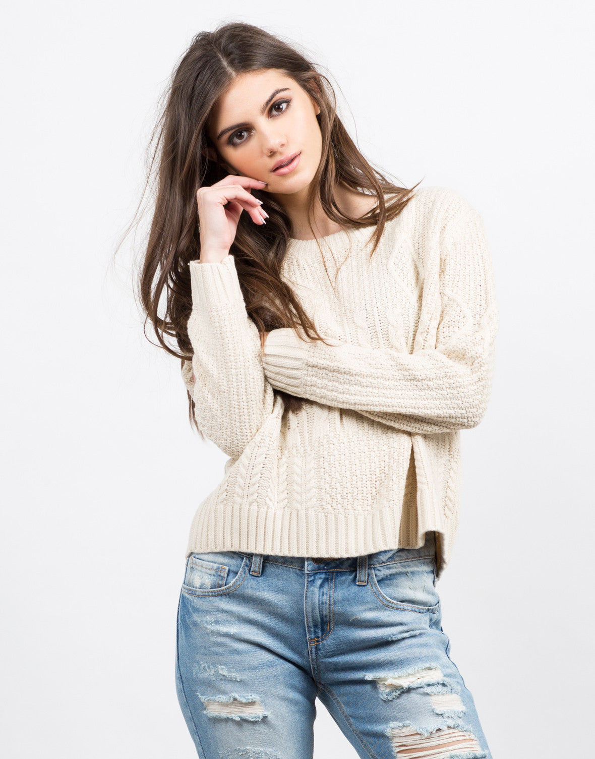 Front View of Multi Knit Boxy Sweater