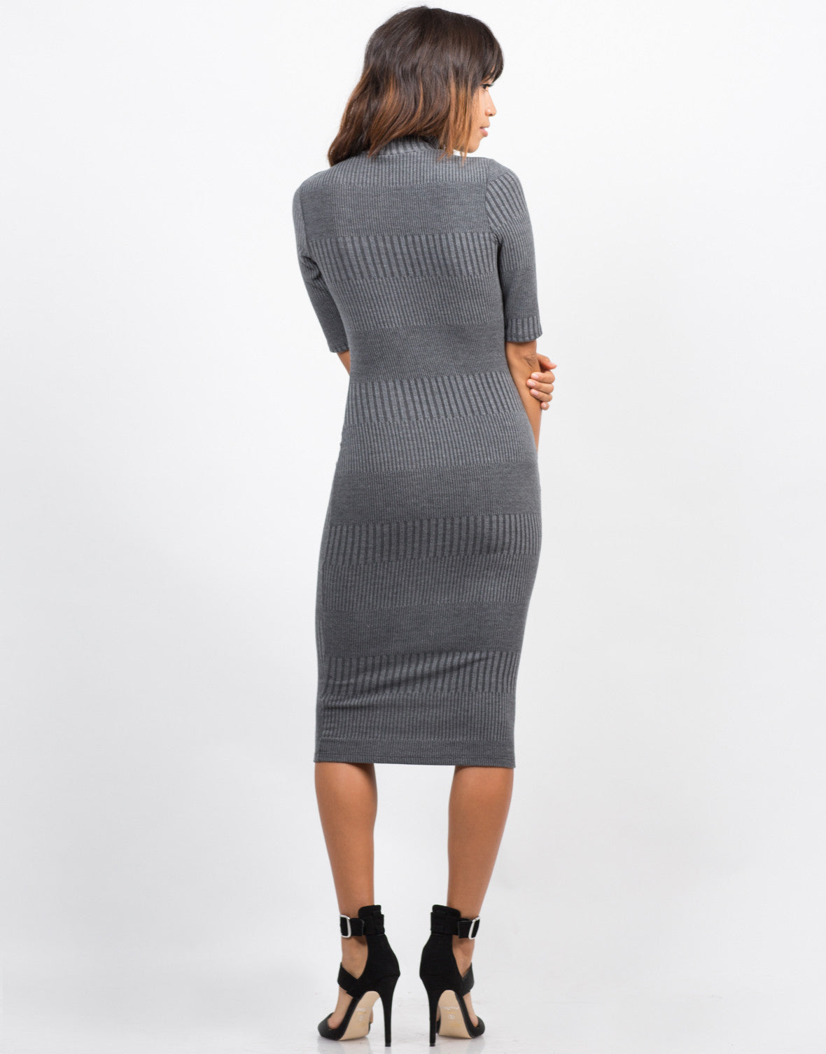 Back View of Multi Ribbed Midi Dress
