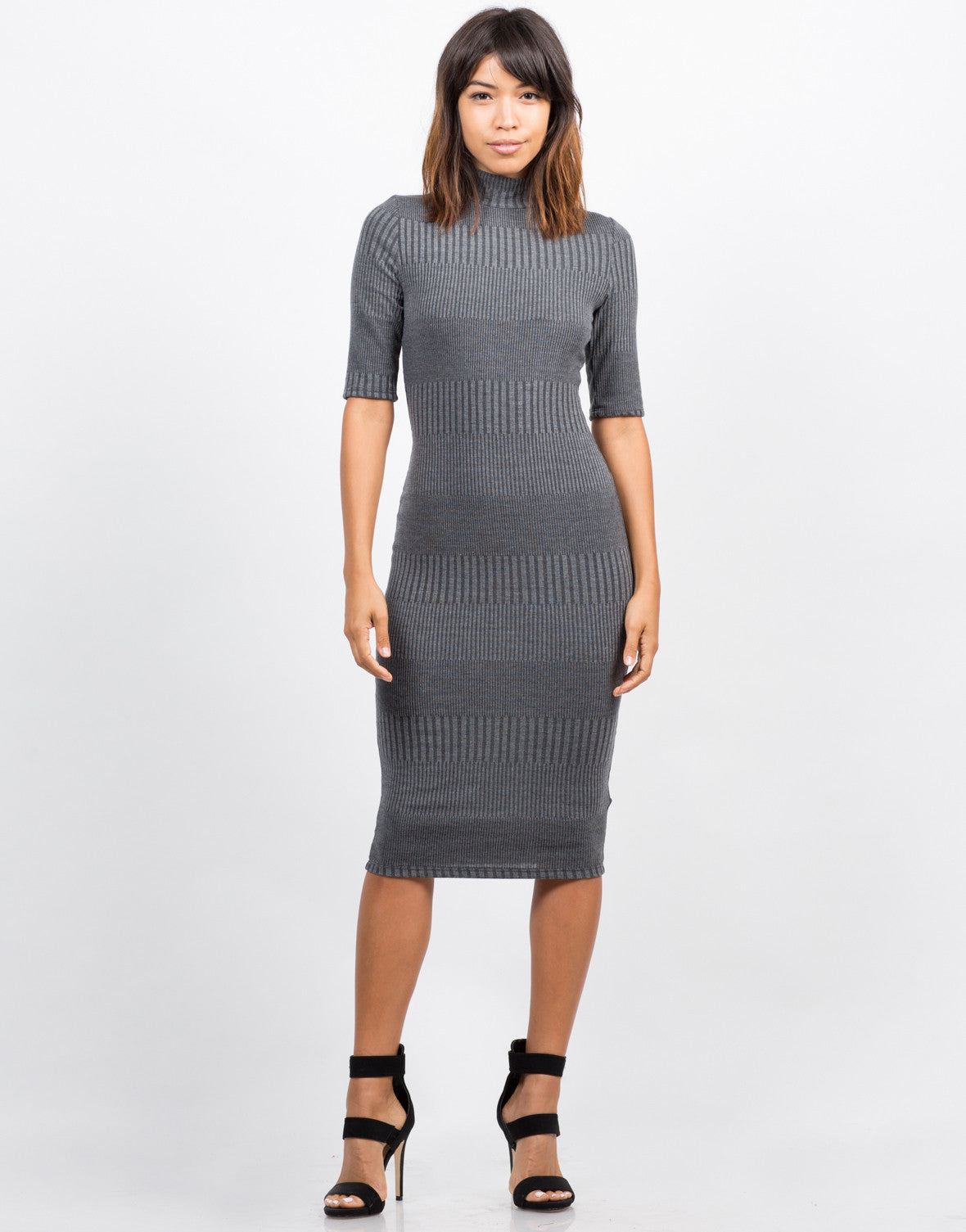 Front View of Multi Ribbed Midi Dress