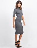Side View of Multi Ribbed Midi Dress