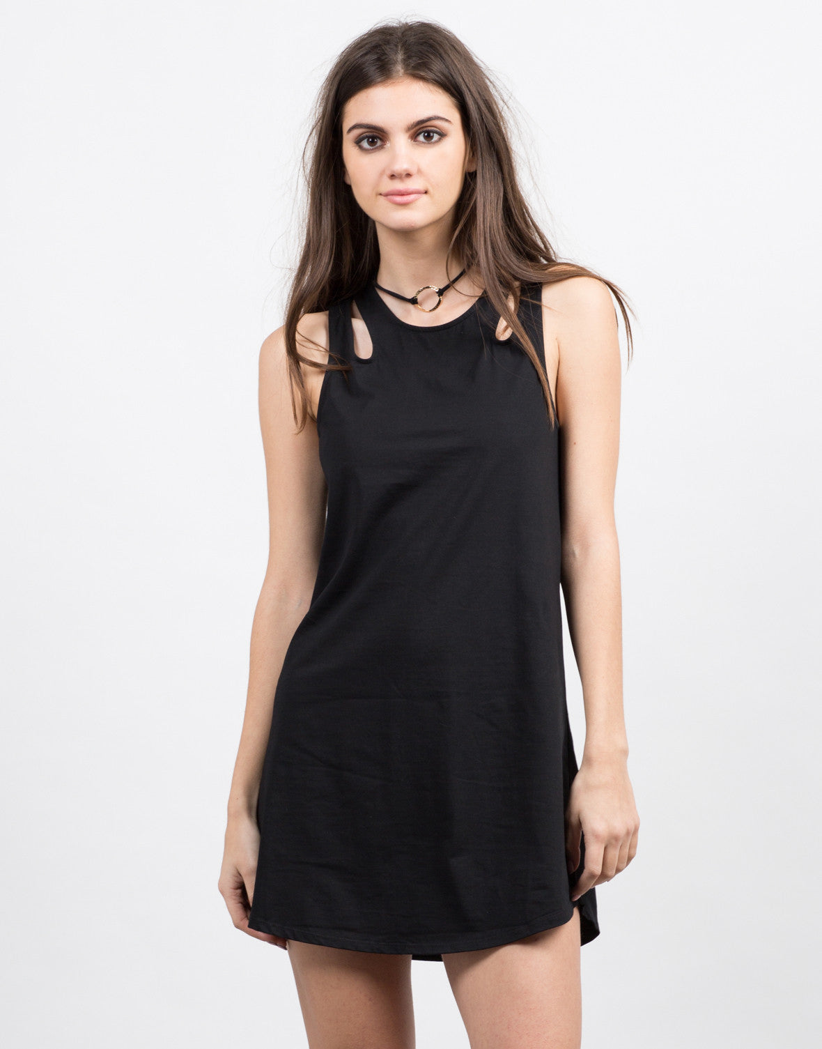 Front View of Multi Strap Tunic Dress