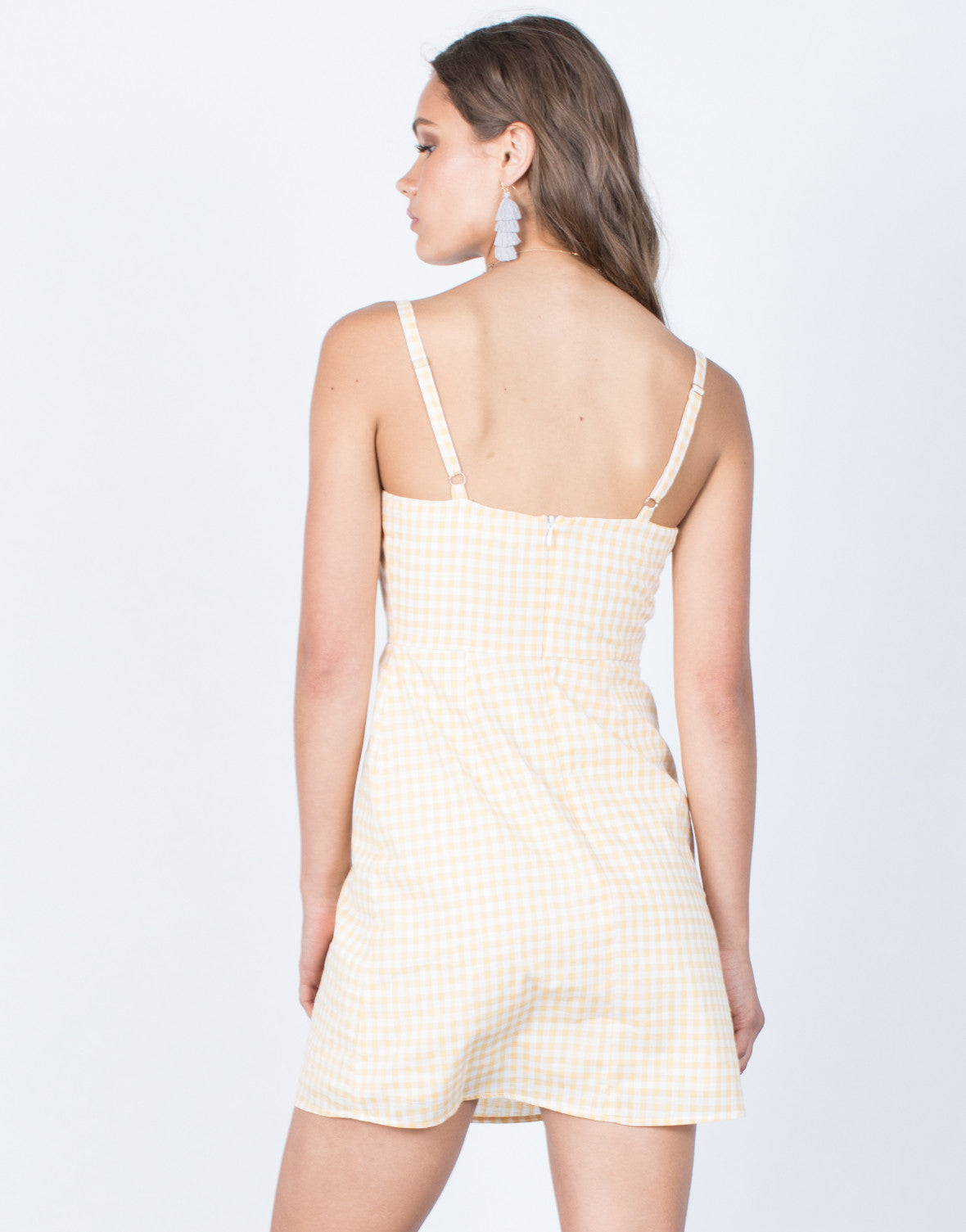 Back View of My Sunshine Gingham Dress