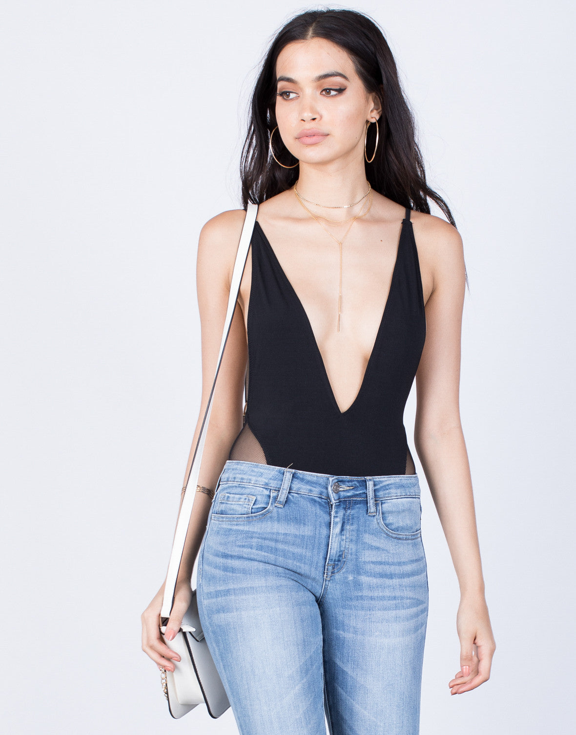 Naomi Plunging Bodysuit - Plunging V Neck Bodysuit - Sheer Tank Bodysuit – 2020AVE