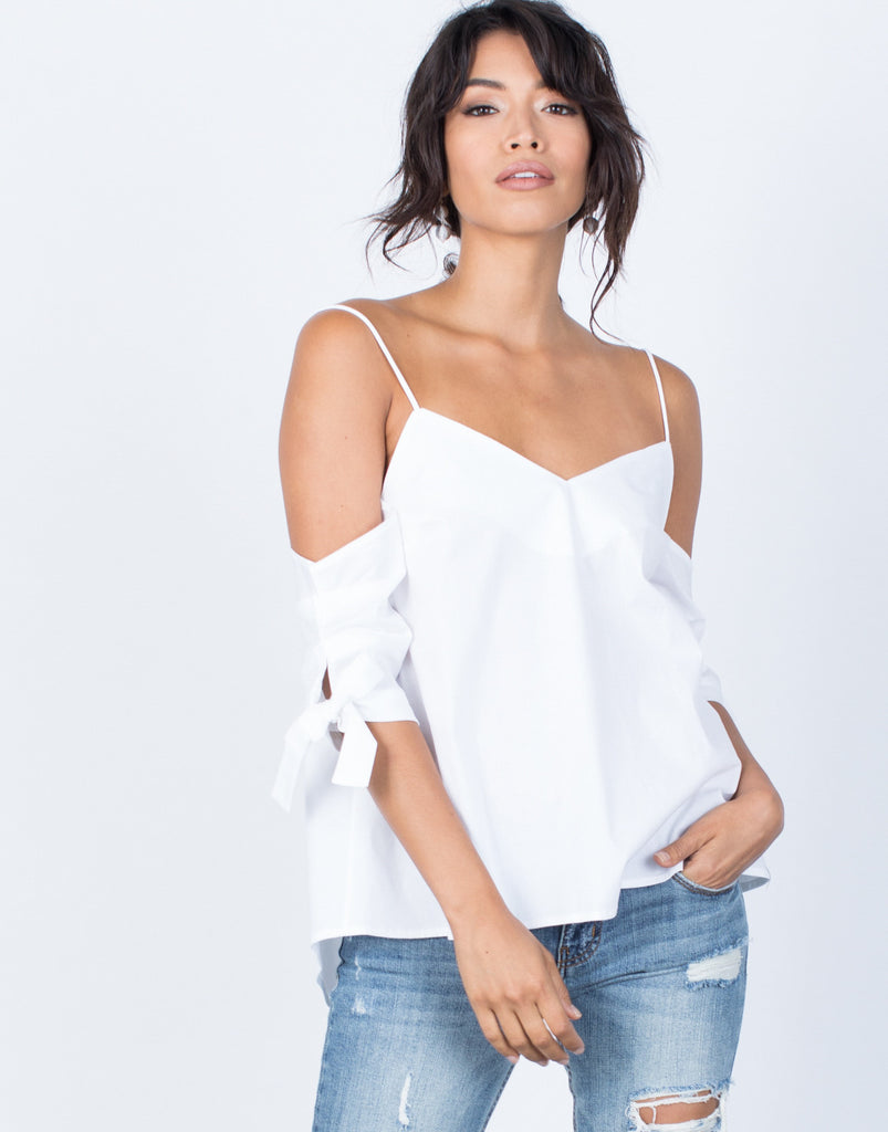 Front View of Noemi Tied Sleeves Top