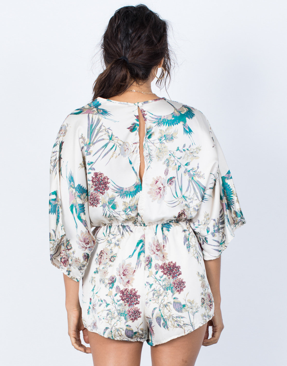 Ivory Nature Vibes Floral Romper - Back View
