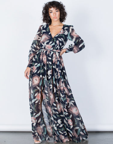 Navy Nature's Best Maxi Dress - Front VIew