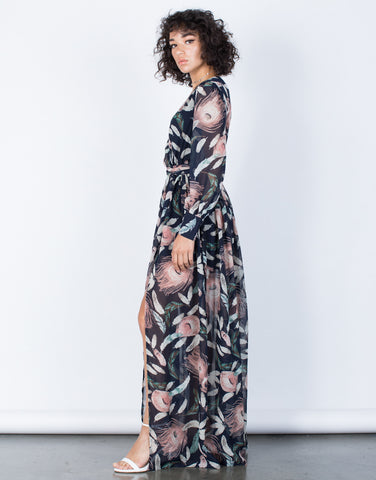 Navy Nature's Best Maxi Dress - Side View
