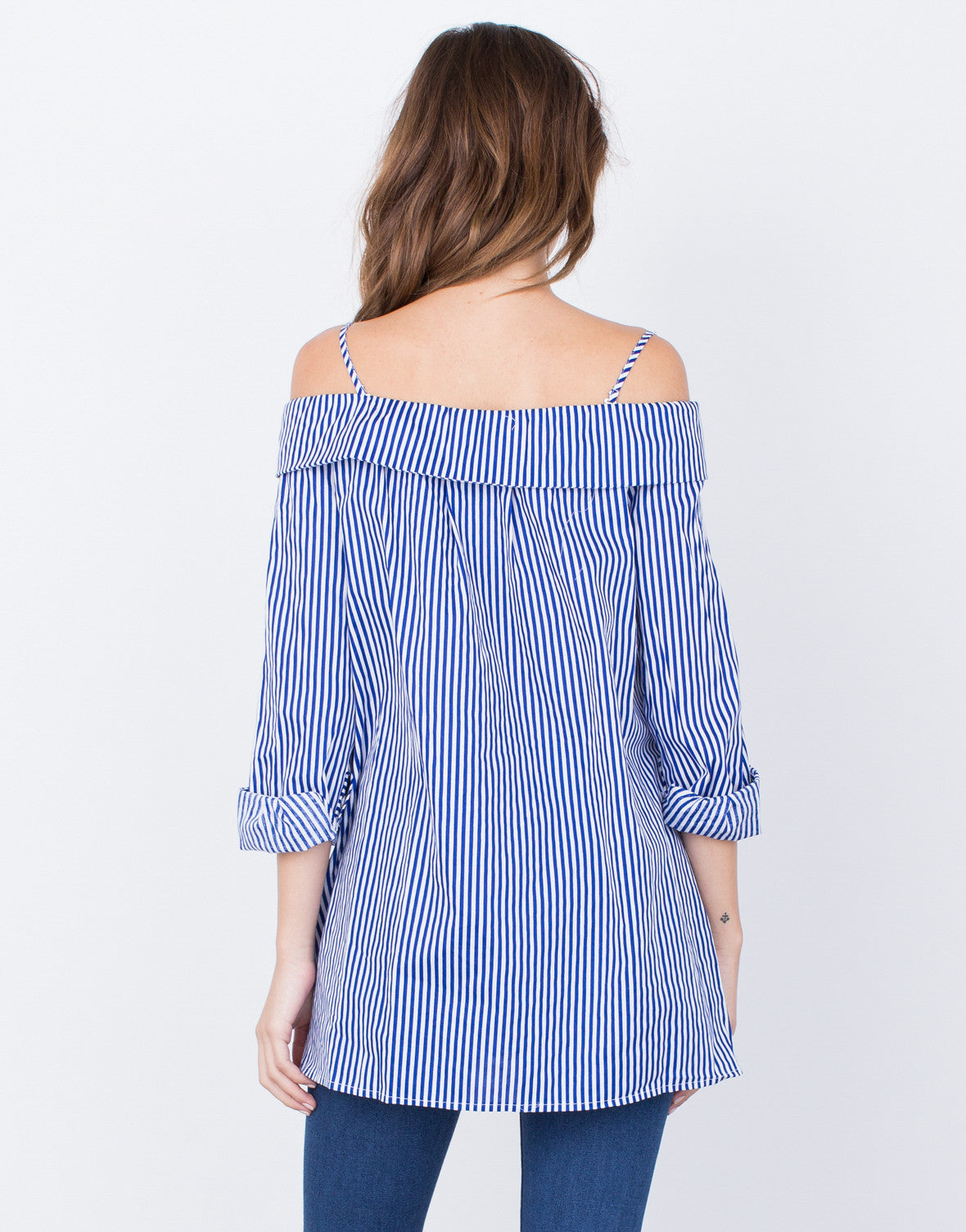 Back View of Nautical Cold Shoulder Top