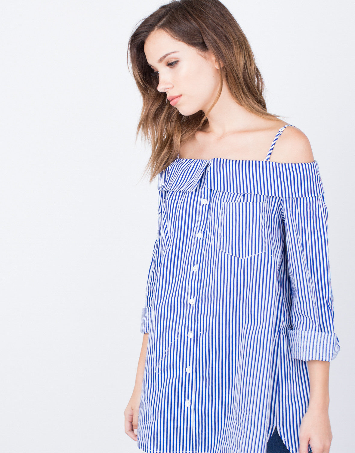 Detail of Nautical Cold Shoulder Top